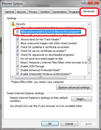 image click security, advanced, allow active content
