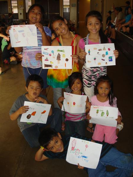 Children showing drawings