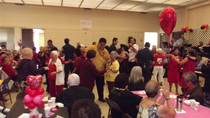 Mayor Bernard J. Carvalho, Director of Parks and Recreations Lenny Rapozo and Firefighters dance with seniors at the 2013 Senior Valentines Party (2/8/13)