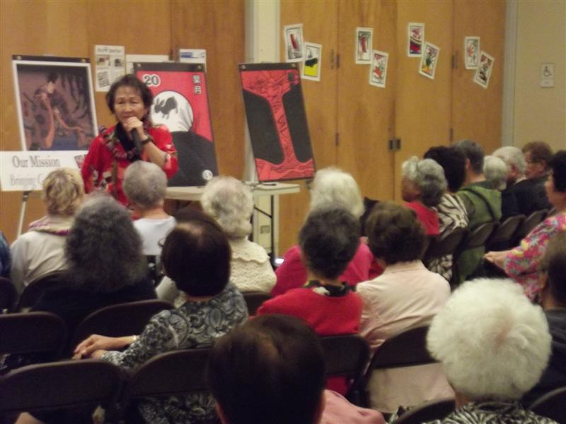 Helen of Hanafuda Hawaii style speaks to Seniors at the Hanfuda workshop (4/4/2013)