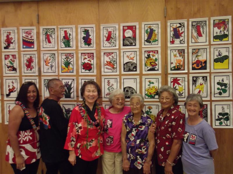 Seniors show off their Hanafuda attire with Parks and Recreation senior coordinator Melanie Okamoto and Hanafuda Hawaii Style Helen Nakano (4/4/13)