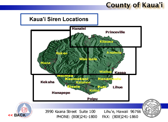 Kauai Siren Locations map image