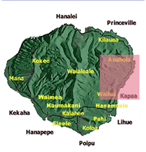 map of Kauai with east side highlighted