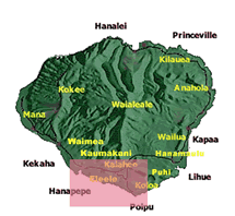 map of Kauai with South side highlighted