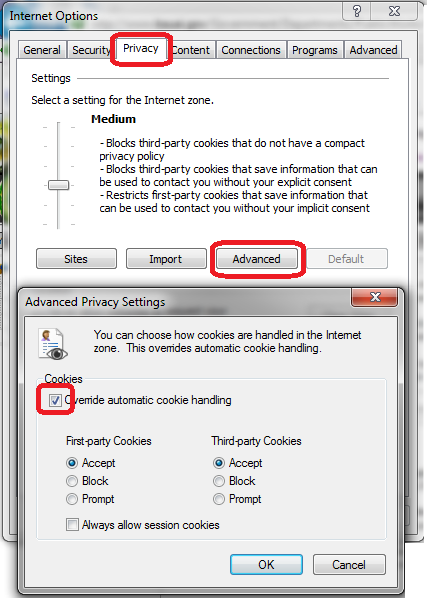 screenshot of Internet Options dialog and Advanced Privacy Settings dialog