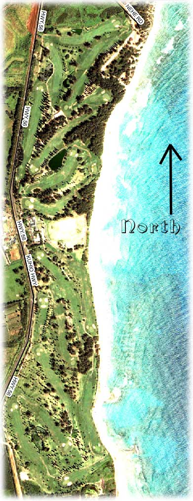 aerial photo of Wailua golf course