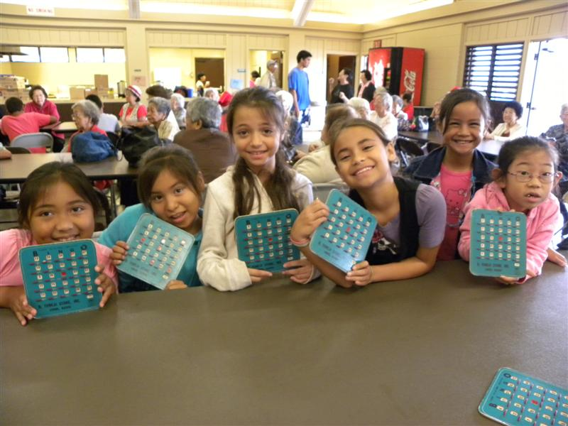 Kids playing bingo