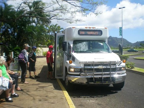 photo of passengers boarding The Kauai Bus