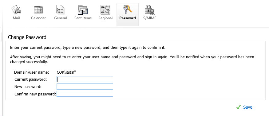 screenshot of Change Password form