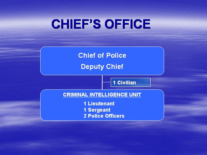 Chief of Police, Deputy Chief, 1 civilian, Criminal Intelligence Unit (1 Lieutenant, 1 Sergeant, 2 Police Officers)