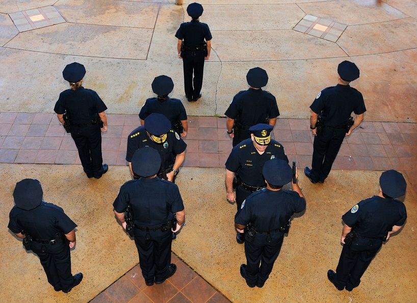 photo of 85th Recruit Class from above during final inspection