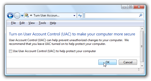 screen capture of UAC