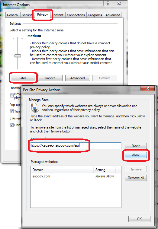 screenshot of Internet Options dialog, Privacy tab, Sites button and Per Site Privacy Actions dialog, Allow EPR website address