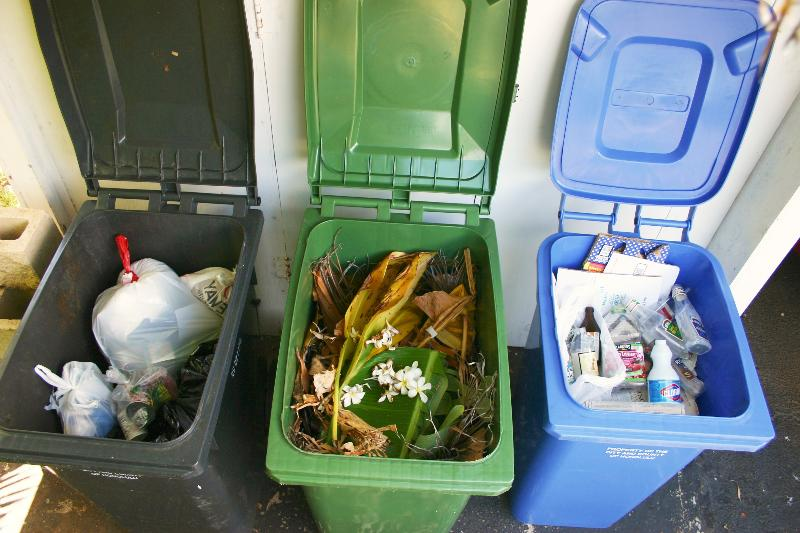 photo of trash cart, green waste cart and recycling cart
