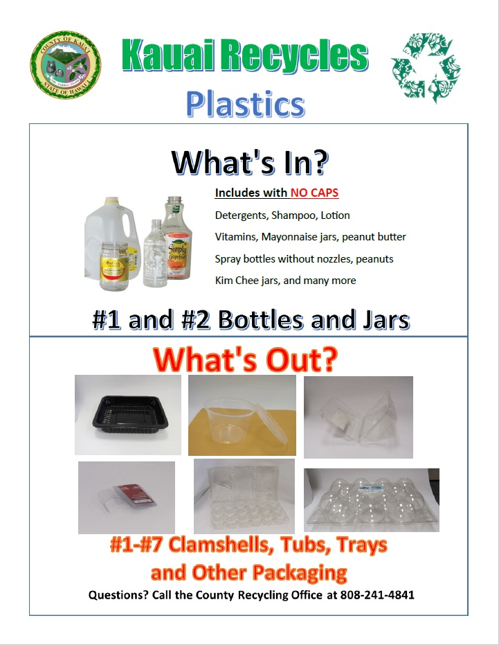 Kauai Recycles Plastics In and Out Flyer