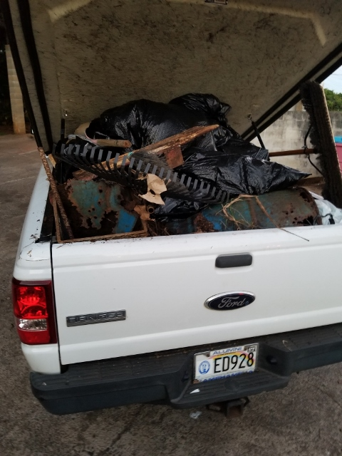 Truck full of trash hauled out of the Lawai Kauai Recycles drop site
