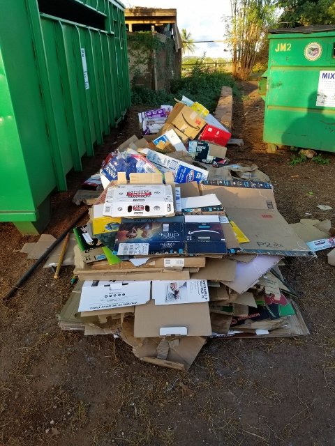 Illegal dumping at recycling site.